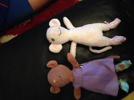 Two small Angelina Ballerina soft toys