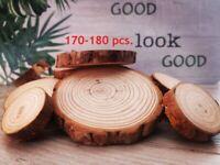 170-180pcs Wooden Wood Log Slices Discs Round Decorative Rustic Wedding