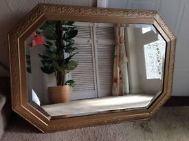 VINTAGE RETRO LOZENGE SHAPE WOOD FRAME BEVELED WALL MIRROR