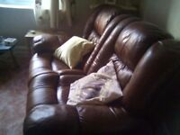 Leather 2 seater recliner sofa. Both seats recline. 3 seater also available with 2 seats reclining.
