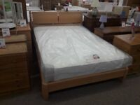 Light Wood Double Bed Frame and Mattress
