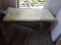 painted coffee table with patterned top covered with a glass insert , L97cm x W46cm x H46cm