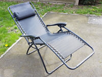 Pair of Black Sunloungers - Excellent Condition