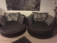 Sofa bed and 2 swivel cuddle chairs