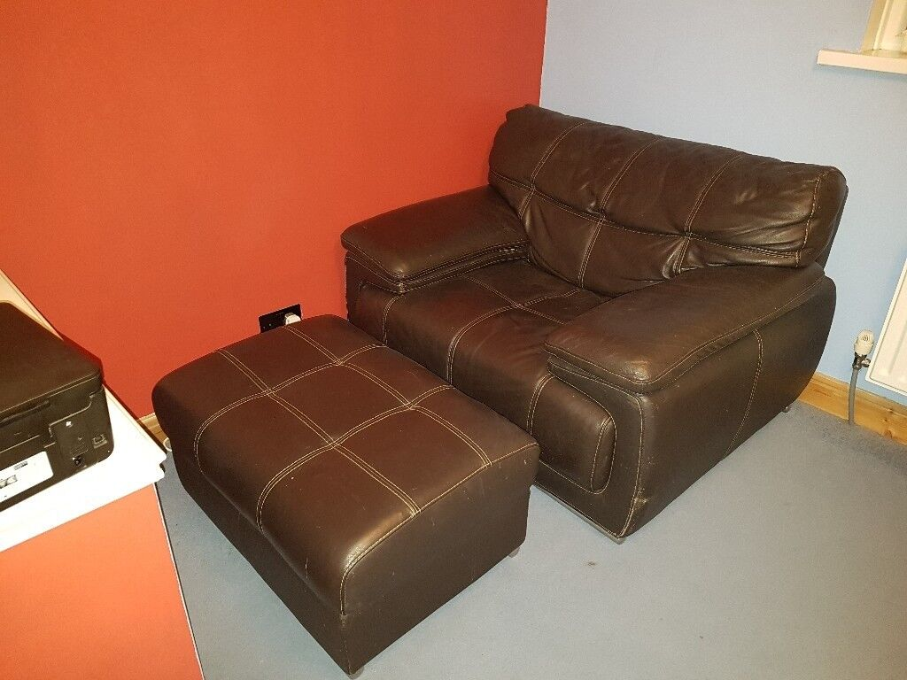 Dark Brown Leather Armchair And Foot Stool Extra Large