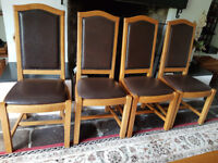 Solid French Oak dining room chairs with padded seats and backs x 4