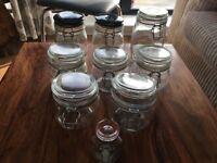 Glass Kitchen Storage/Preserve Jars (9)