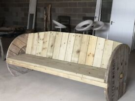 Reclaimed cable reel bench handmade solid wood available for you to choose stain