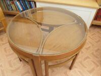 Nathan Oak Round Trinity Coffee Table Set