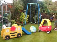 toys. Assorted outdoor toys. little tikes car, little tikes bus with slide. swing and pool balls.