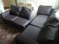 Sofa. L-shaped. Large 5 seater in Brown Vinyl