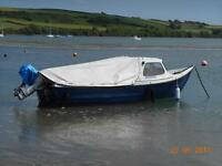 Orkney Strikeliner fishing boat on road trailer, Honda 15hp 4 stroke eng, all good condition.