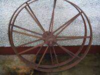 2 steel cart wheels