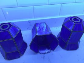 3 blue marbled glass light shades