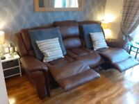 Recliner tan leather suite