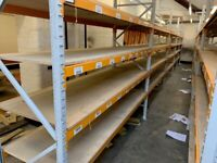 JOB LOT heavy duty apex industrial long span shelving as new! .( pallet racking , storage)