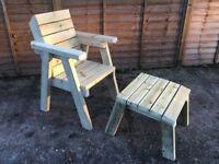 Garden chair & foot stool set