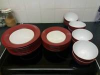 Red Dinner set 8 setting nearly new change colour of kitchen