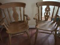 2 pine fiddle back farmhouse carver chairs