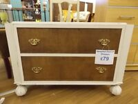 natural wood and white hand painted distressed chest of drawers