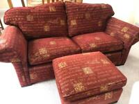 2 seater sofa with matching footstool