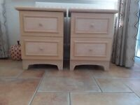 Pair wooden chests. Creamy/yellow colour with basket effect on front of drawers.
