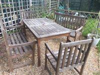 Hard wood garden furniture