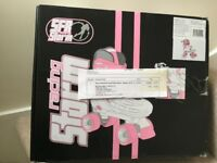 Quad Roller Skates new size adjustable 12-1 White/Pink