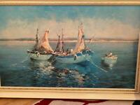 Large framed picture-At Anchor by Verdy