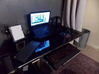 Black Glass & Chrome Computer PC Desk