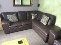 Brown leather corner sofa settee and arm chair comfortable