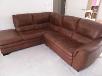 CHOCOLATE BROWN LEATHER CORNER SOFA - MUST GO ASAP - CHEAP DELIVERY - £260
