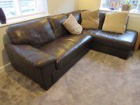 Dark brown leather corner sofa