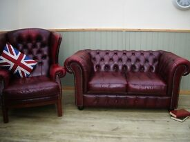 Stunning Oxblood Leather Chesterfield 2 Seater Sofa and Queen Anne Chair.
