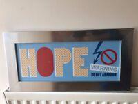 "HOPE WARNING DO NOT ABANDON Wall Art Vintage Print 23.5"" (60cm) x 11.5"" (30cm)"