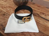 GENUINE GUCCI GG LOGO LEATHER BLACK GOLD BELT