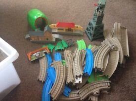 Thomas the tank complete train set with lots of die cast and motor trains.