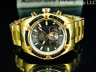 Invicta Men's 52mm BOLT THUNDER Chronograph BLACK Dial 18K Gold Plated SS Watch