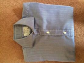 "T.M.Lewin Blue Herringbone Shirt, collar size 15"""