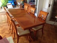 Large dining table and 6 chairs and matching sideboard
