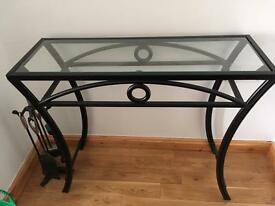 Black/glass top table
