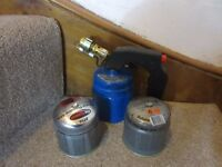 Brand new Silverline gas blow torch plus two full unused cylinders