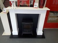 Black and White Electric Fire & Surround