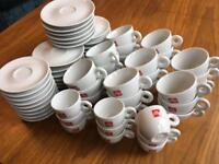 Illy porcelain Cappuccino & Espresso Cups with saucers. 58 pieces