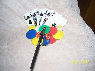 Binion's Desk Pen Holder Dice Chips Cards Clubs Royal
