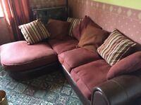 Burgundy corner sofa
