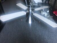 White and chrome ceiling fan light