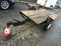 rare Old vintage trailer maybe ex army collectible ? 7 x 3 ft leaf springs with 16 inch wheels