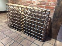 Wine racks; two; classic pine and galvanised metal; each holds up to 56 bottles