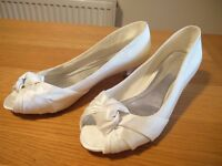 Low heel shoes, ivory satin, great for wedding, peep toe, UK size 4 / EU size 37